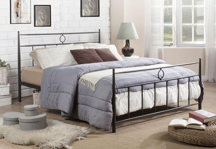 Ester Dark Bronze Victorian Iron FullSize Metal Platform Beds Bed