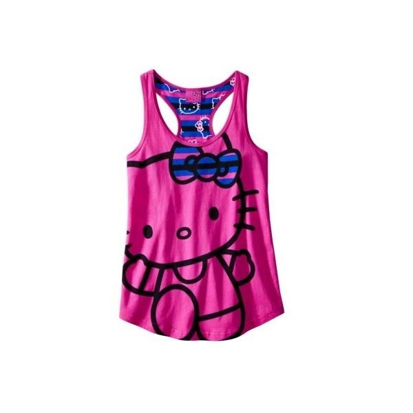 Hello Kitty Smart Kitty Tank Pink ($11) ❤ liked on Polyvore