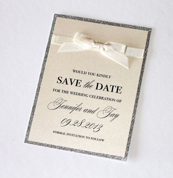 Jennifer Couture Save the Date for Wedding or Special Event - Ivory and Silver Glitter