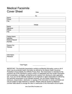 When sending private health information over fax, use this medical cover sheet, as per HIPAA regulations. Free to download and print