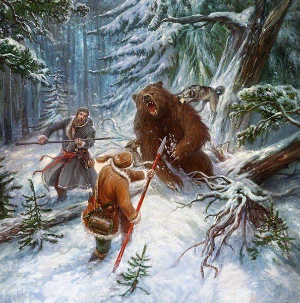 далеком прошлом картинки охота на медведя наши