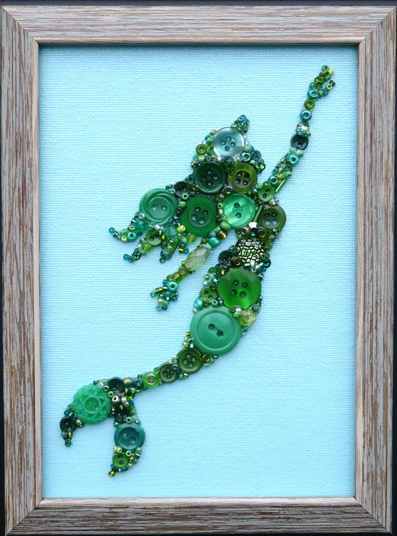 Green Mermaid Button & Bead Wall Art with Swarovski Crystals