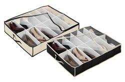 Don't Waste Storage Space - Under Bed Shoe Storage - Black & Cream - Great For Dorm Organization