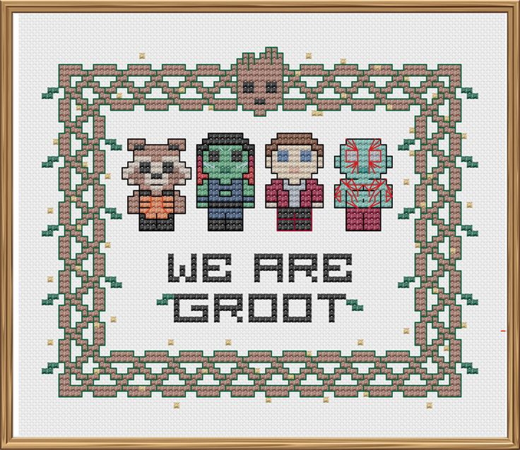 "Guardians ""We are Groot"" Crossstitch Pattern"