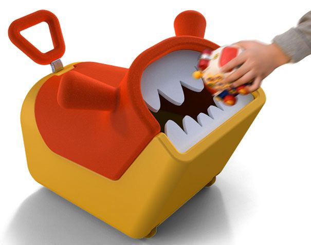 """Its a monster toy box that """"eats"""" toys! It helps kids learn to pick up their toys AND it rolls so they can ride on it to pick up the toys."""
