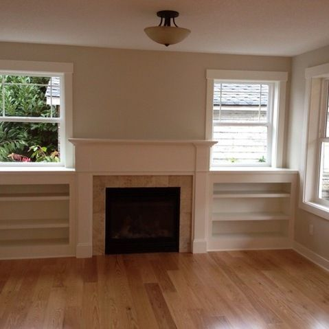 fireplace between windows - Google Search
