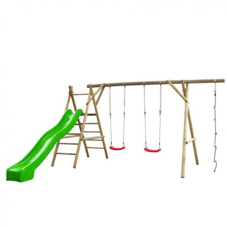 Kids Playhouse Set Ladder Slide Wooden Playground Children Green Swing Rope Home #KidsPlayhouseSet