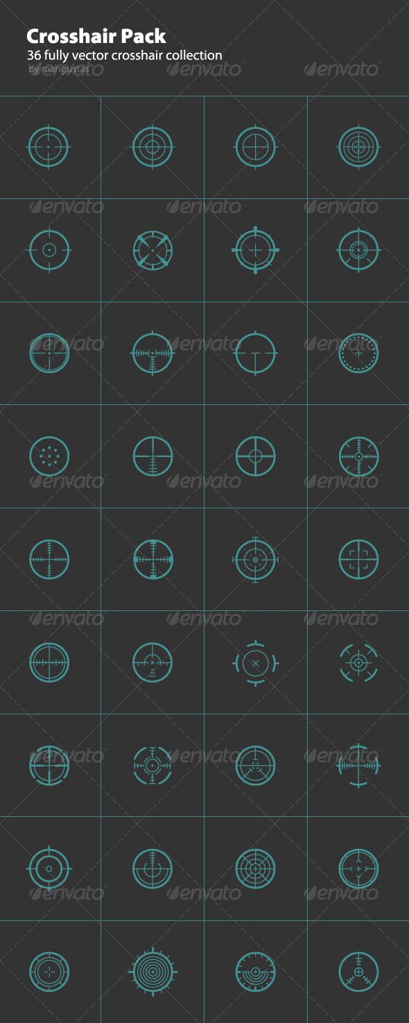 36 Round Crosshair Collection — Photoshop PSD #crosshair #sniper • Available here → https://graphicriver.net/item/36-round-crosshair-collection/1464036?ref=pxcr