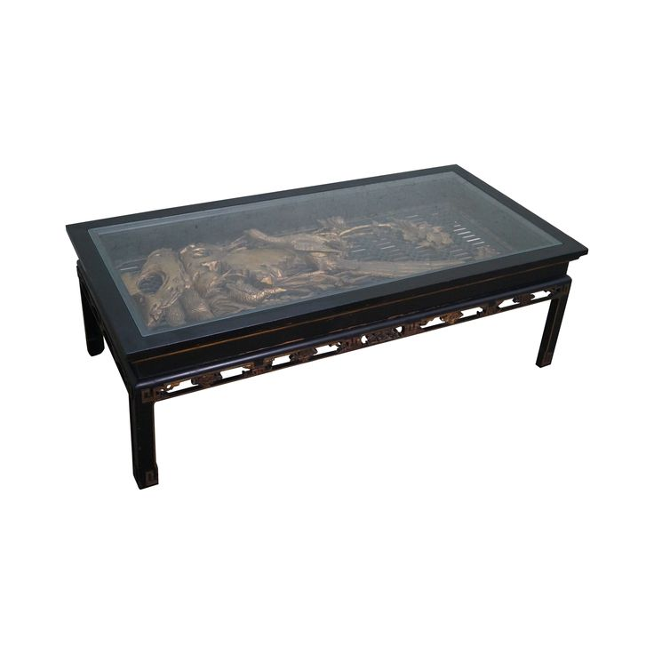 Antique Black Gold Chinese Asian Coffee Table