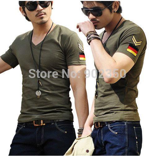 Футболки мужчины v-образным вырезом с коротким рубашку сплошной цвет военная вышитые значки спорт футболка roupas masculinas Большой размер XXXL топы тис