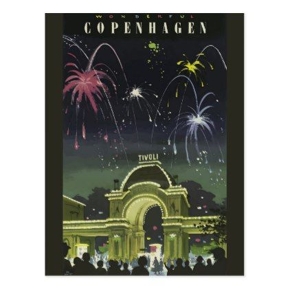 Vintage Copenhagen Travel Poster Postcard - postcard post card postcards unique diy cyo customize personalize