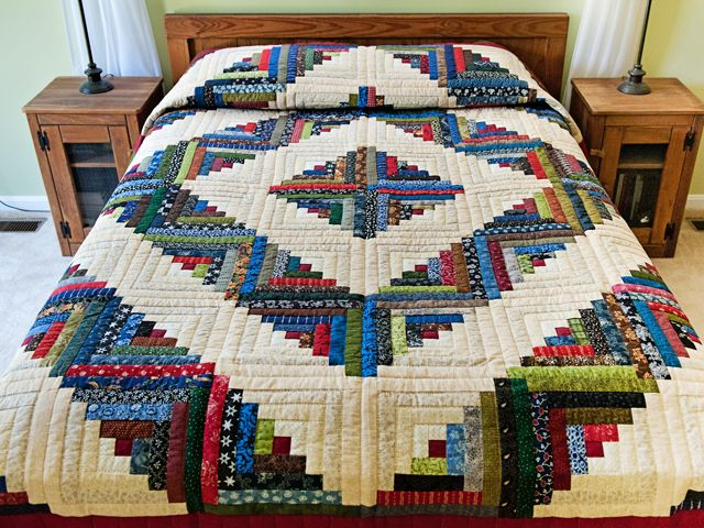 Log Cabin Quilt -- superb well made Amish Quilts from Lancaster (hs6752)