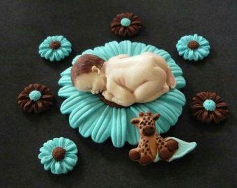 Pasta de azúcar bebé vaquero de la torta para baby shower