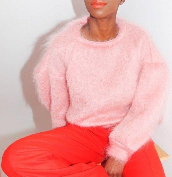 bubblegum pink + blood orange #style #fashion