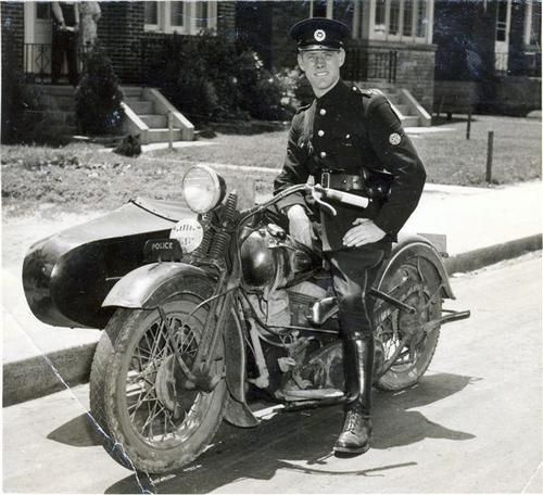 Toronto policeman on his motorcycle in 1946