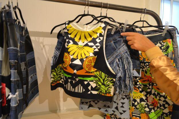 Liora Lasalle @ London Fashion Week. Showcasing her fruity prints. Tomorrow's fashion today. www.Wowcracy.com
