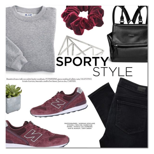 """""""Sporty Style"""" by makeupgoddess ❤ liked on Polyvore featuring Paige Denim, Blair, New Balance, Givenchy, Wild Pair, Pier 1 Imports and Topshop"""