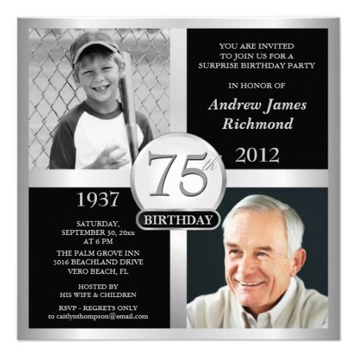 75th birthday party invitations for women | 75th Birthday Invitations Then & Now Photos