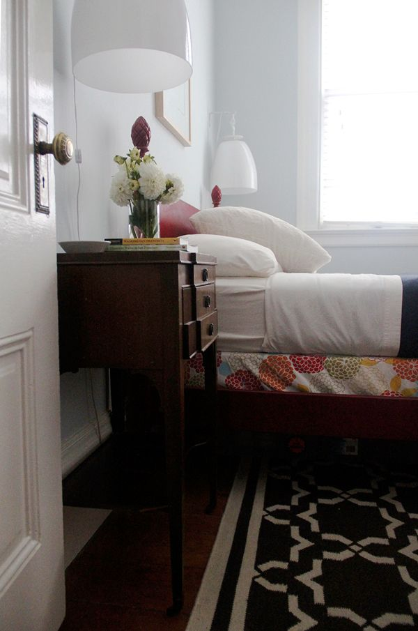 Andi & Dean's Modern Meets Victorian - really cute bedroom set-up, with bed like the girl's.  I especially like the airy bedside lamps which look to add character and function without eating up nightstand space.