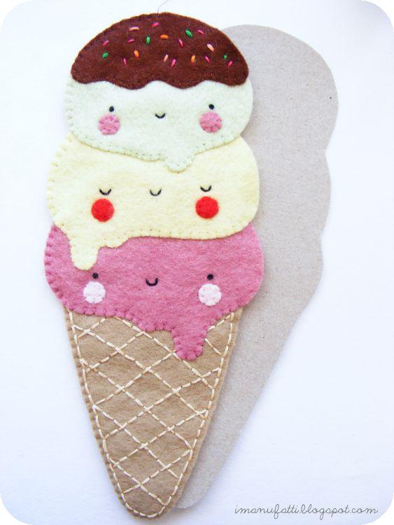 DIY Kawaii Felt Ice Cream - FREE Pattern and Tutorial