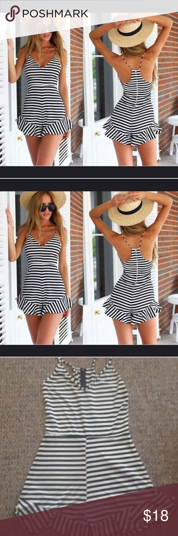 Black and white striped romper Black and white striped romper size small women's, brand new NEVER worn, v-neck, spaghetti straps, cute one piece shorts, zipper in back for zip up closure. Super soft material. Selling this adorable piece for a great price!New! Shorts