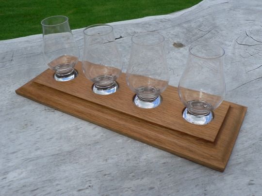 Glencairn glasses deserves a proper display. These Whisky Glass Display Stands made from reclaimed Oak will do the trick - Ayke & WhatNot