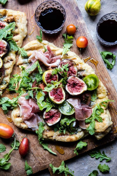 "bobobelle: ""mademoiselle-bazaar: ""www.halfbakedharvest.comw grilled-tomato-fig-prosciutto-pizza "" Oh heaven! """