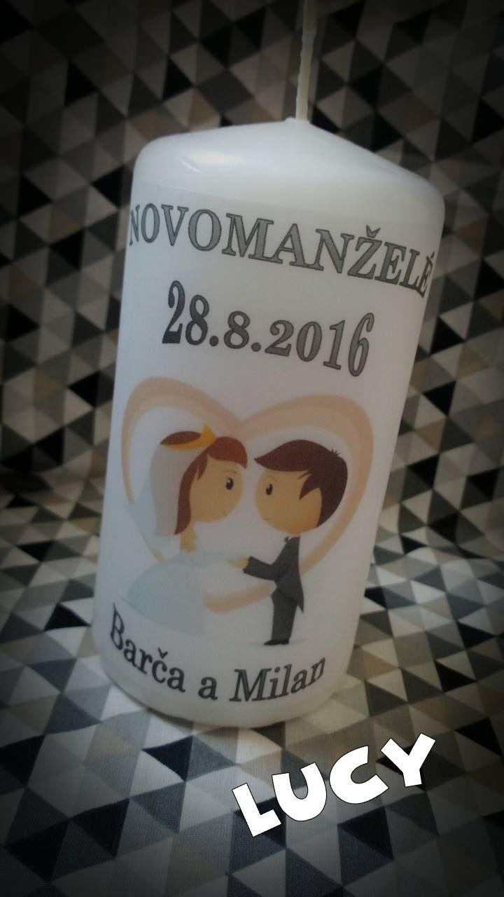 Svíčka Novomanželé dárek na svatbu láska
