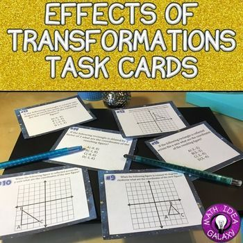 Transformations: Effects of Translations Task Cards gives students lots of practice applying the rules related to transformations and the resulting figures. Includes questions about translations, dilations, rotations, and reflections. Half of the cards deal with congruency and similarity. Supports 8th Grade Math CCSS 8.G.A.3