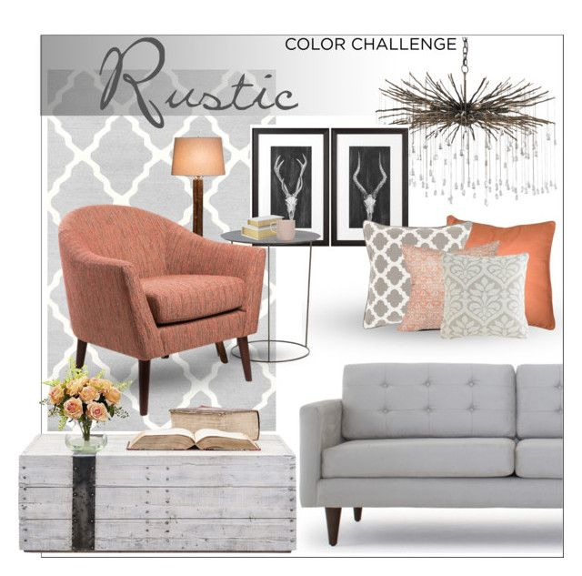 color challenge : gray and peach living room by nerazahra on Polyvore featuring polyvore interior interiors interior design home home decor interior decorating Joybird Arteriors DutchCrafters nuLOOM Uttermost Dot & Bo Pillow Decor Nearly Natural living room colorchallenge grayandpeach