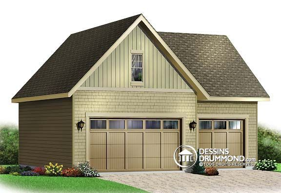 plan de garage triple 3 voitures avec grand rangement l 39 tage dessins drummond no 3981. Black Bedroom Furniture Sets. Home Design Ideas