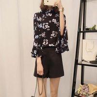 2016 de otoño de flores de gasa mujeres tops camisa de manga flare mujeres señoras de la oficina blusas de corea moda chemise femme