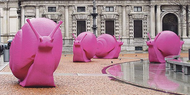 Pink Snail Sculptures in Istanbul
