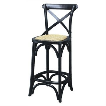 Sherwood Solid Oak Timber Cross Back Low Bar Chair with Rattan Seat - Black