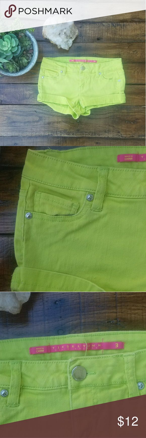 Tinseltown Lime Green Jean Shorts Add a pop of color to any outfit with these lime green shorts! **Last two pictures are for styling purposes** SIZE: 3 (Juniors) BRAND: Tinseltown  COLOR: Lime Green USAGE: Never Worn  MEASUREMENTS: (Inches) WAIST: 14 RISE: 8 1/2  LEG OPENING: 9 LENGTH: 9 1/2  **Please see my post with the diagrams of how measurements are taken** Bundle & save on shipping Shorts Jean Shorts
