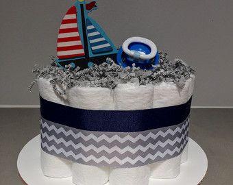 Tres niveles de torta de pañales de chevron por JennyKnickDesigns