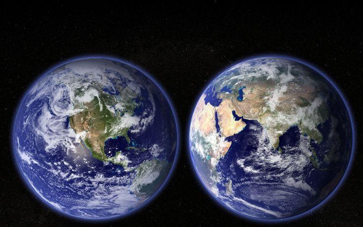 космос планета, земля, материки, океаны, полушария обои рабочий стол