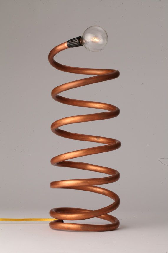 Helix Copper Coil Spiral Copper Tube Lamp by ObjectsOfLight