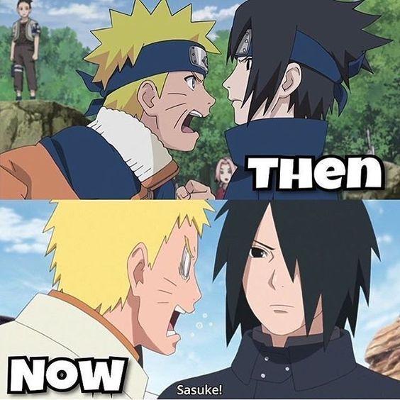Then..and now….so funny #naruto #sasuke #anime #…