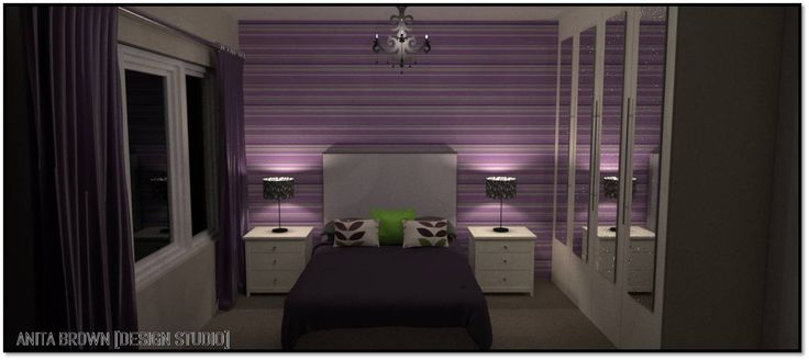 Purple and Green Bedroom 1