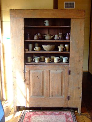 Antique pine cupboard at The Tweed Weasel. Schaefferstown PA
