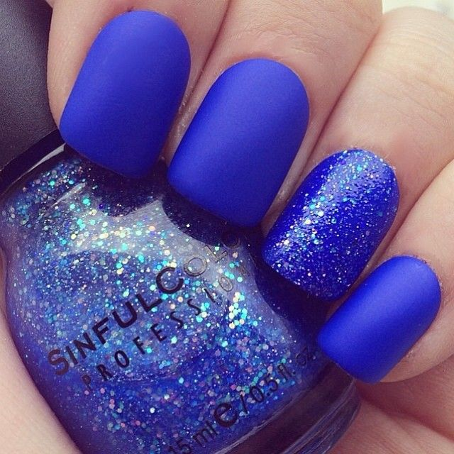 Pretty Painted Fingers & Toes Nail Polish| Serafini Amelia| Nail Art-Electric Blue-Accent Nail