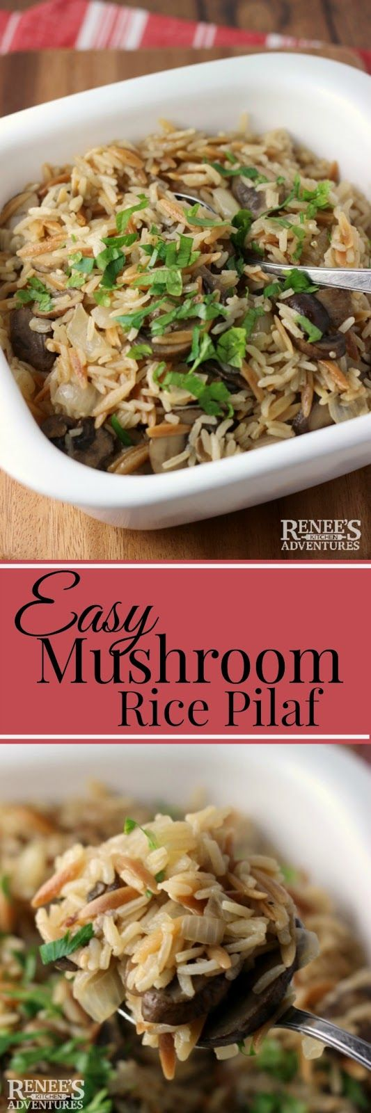 Easy Mushroom Rice Pilaf | Renee's Kitchen Adventures - easy side dish recipe made with fresh mushrooms. Perfect for any holiday or everyday of the year! #SundaySupper