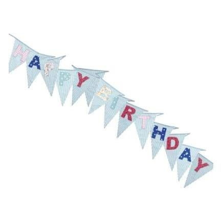 Blue 100% Cotton Happy Birthday Bunting - Included in the standard $115 and deluxe $175 packs www.strawberry-fizz.com.au