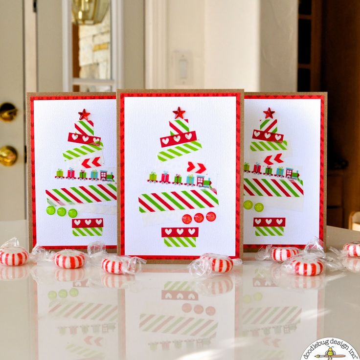 Doodlebug Design Inc Blog: Quick & Easy Washi Tape Christmas Tree Cards