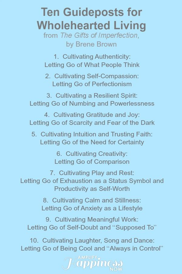 ten guideposts for wholehearted living