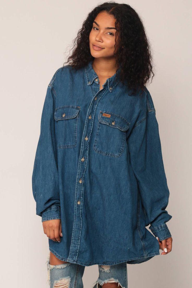Denim Shirt CARHARTT Shirt 90s Jean Blue Oversized Grunge