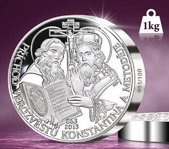 1kg ryzího stříbra - medaile Cyril a Metoděj