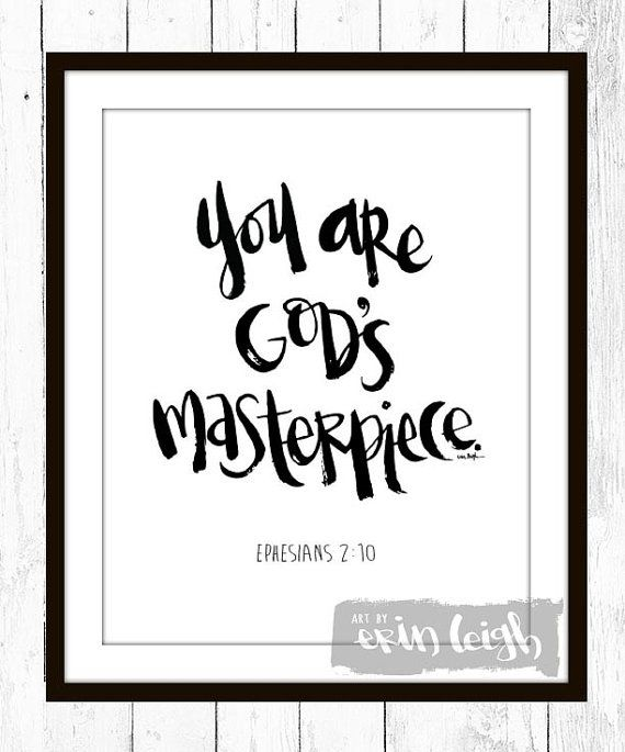 You are God's Masterpiece. Ephesians 2:10. Who I am in Christ wall art. bible…
