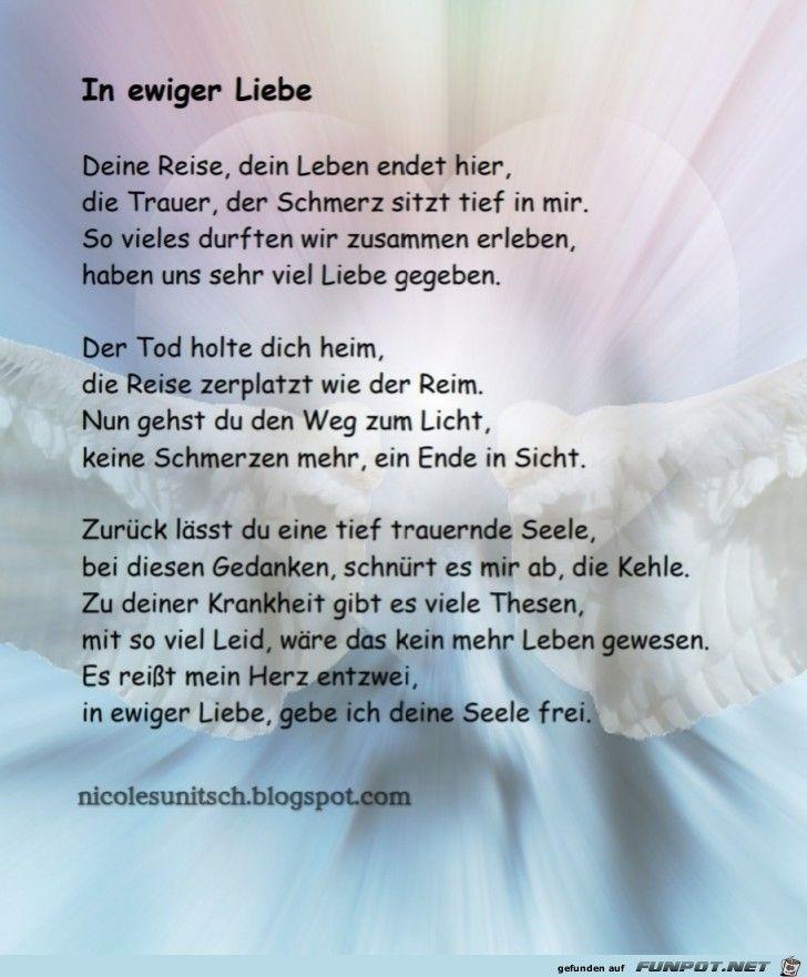 In Ewiger Liebe Trauergedicht Von Nicole Sunitsch Funeral Quotes Funeral Poems Poems